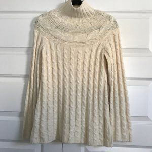 GARNET HILL Cream Mock Neck Cable Knit Sweater